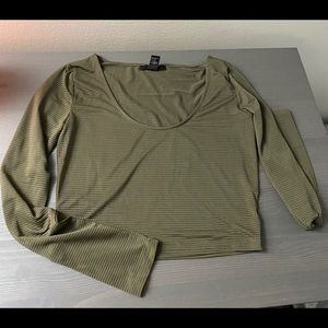 Forever 21 olive green crop long sleeve